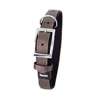 Karlie ASP Halsband mit Zugentlastung, doubliert - Grau/Schwarz 65cm/40mm