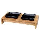 Napf-Set, Keramik/Holz 2 × 0,2 l/10 cm/28 × 5...