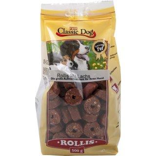 Classic Dog Snack Rollis mit Lachs 500g