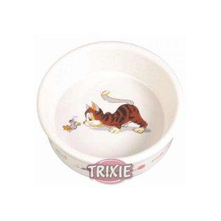 Napf, Comic-Katze mit Maus, Keramik 0,2 l/ø 12 cm, weiß