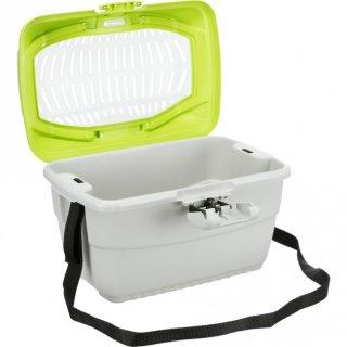 Transportbox Mini-Capri, Kaninchen, Kunststoff 40 × 22 × 30 cm, dunkelgrau/hellblau
