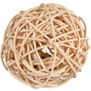 Ball mit Schelle, Rattan ø 4 cm