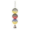 3er Gitterball mit Kette und Glocke 16 cm