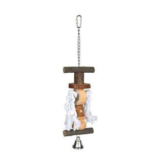 Spielzeug mit Kette, Tau und Glocke, Rindenholz 38 cm