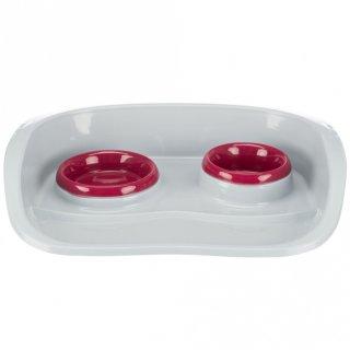 Napf-Set, Kunststoff 0,25 l/ø 9 cm & 0,3 l/ø 11 cm/46 × 11 × 30 cm, weiß/Näpfe: diverse
