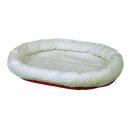Bett, rund 47 × 38 cm, wollweiß/rot