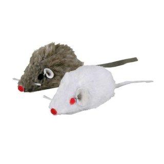 Set Mäuse, Plüsch, Katzenminze 5 cm, 2 St., weiß/grau