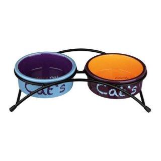 Napf-Set, Keramik/Metall 2 × 0,3 l/ø 12 cm, hellblau/orange/lila